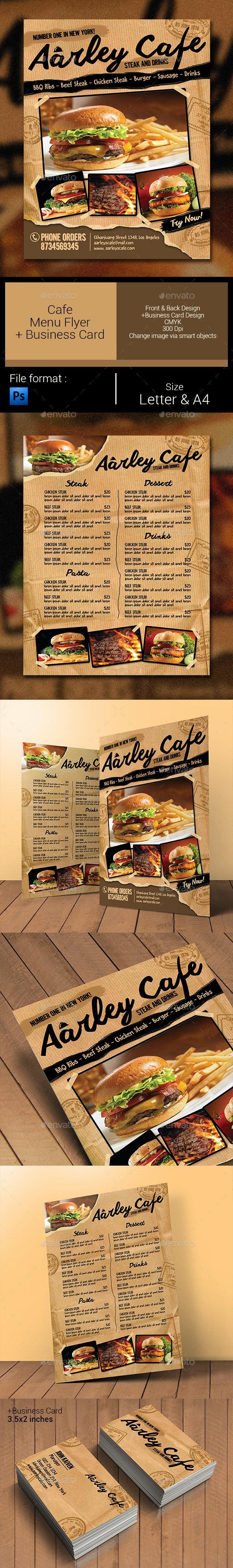 Cafe Menu Flyer + Business Card - Food Menus Print Templates