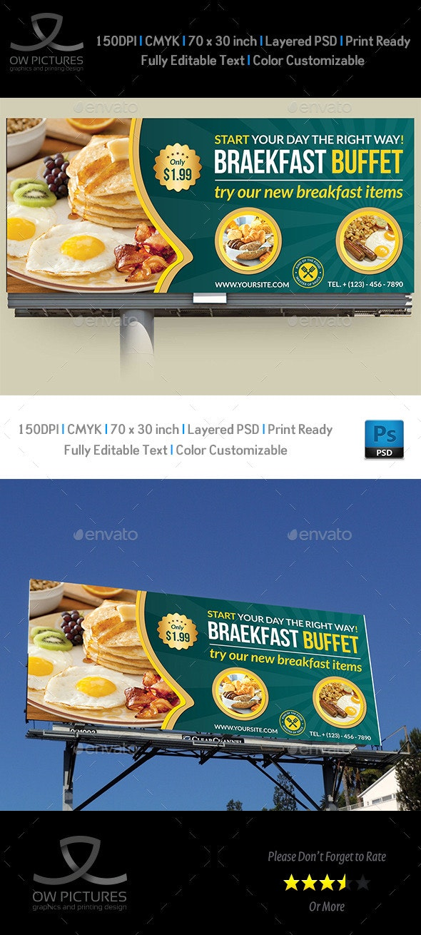 Breakfast Restaurant Billboard Template - Signage Print Templates