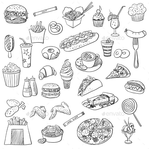 Doodle Icons of Fast Food