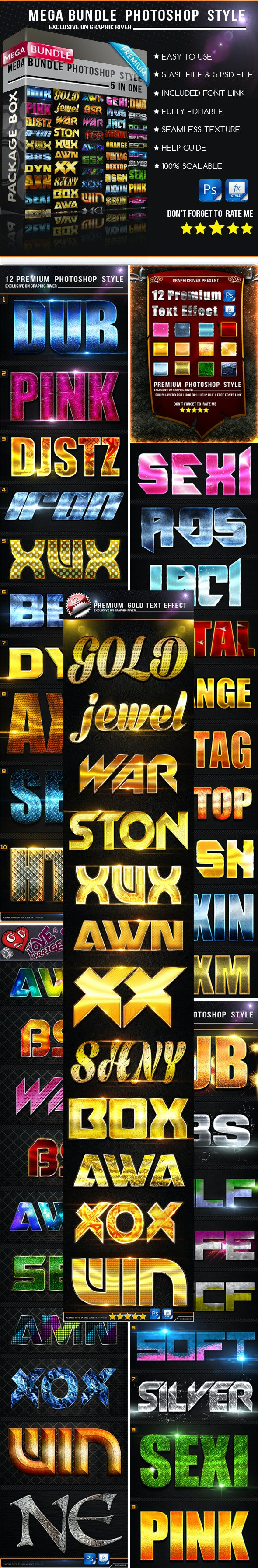 Mega Bundle Photoshop Style v2 - Text Effects Styles