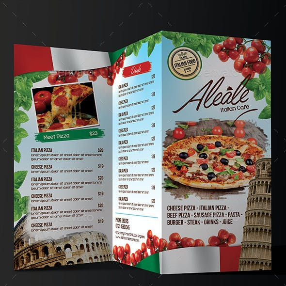 Italian Food Menu Trifold