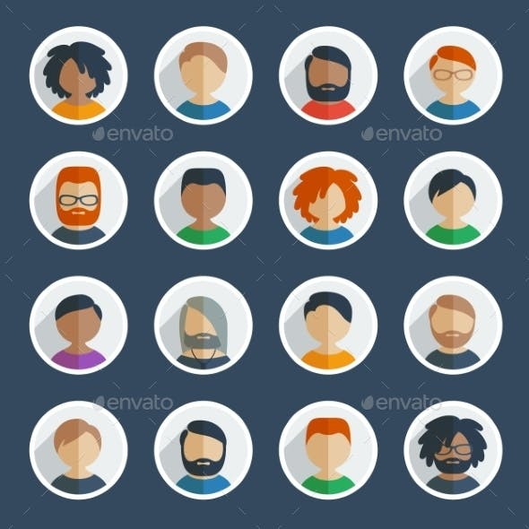 Collection of 16 Colorful Flat User Male Icons