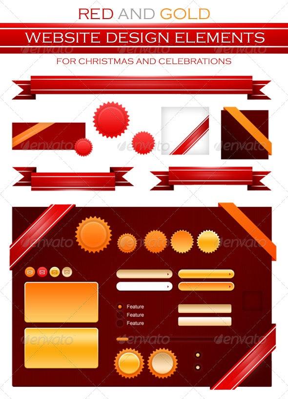 Red/Golden Badges, Ribbon and Website Elements - Web Elements