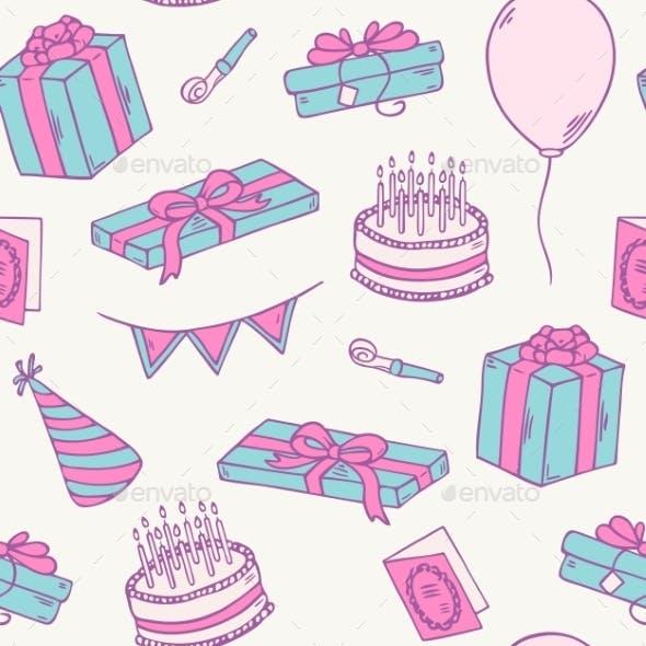 Hand Drawn Birthday Party Seamless Pattern