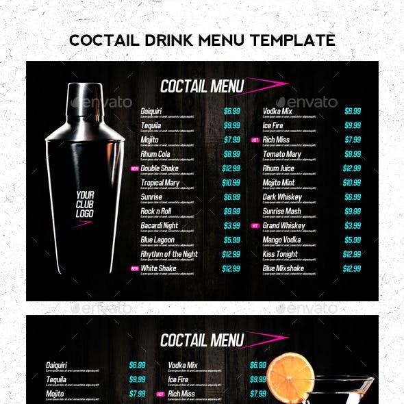 Coctail Drinks Menu Template