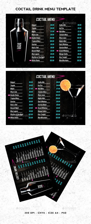 Coctail Drinks Menu Template - Food Menus Print Templates