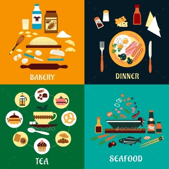 Set of Flat Food Infographics - Food Objects