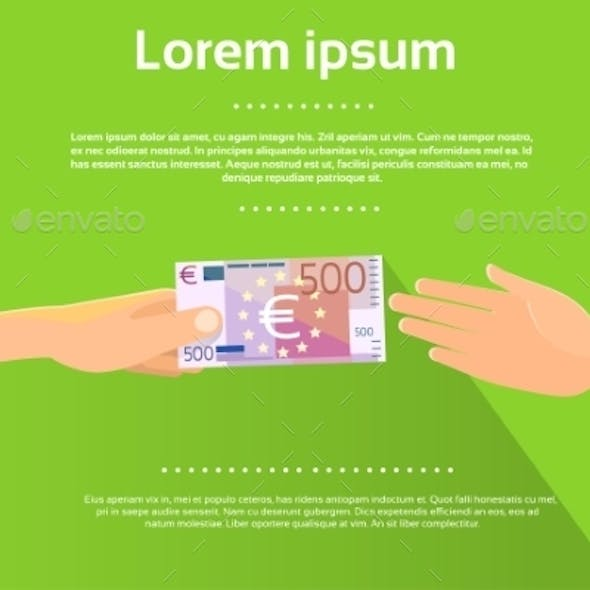 Hands Give 500 Euro Banknote Businessman Flat