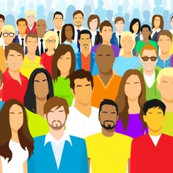 Diverse Group Of Faceless People Flat Design