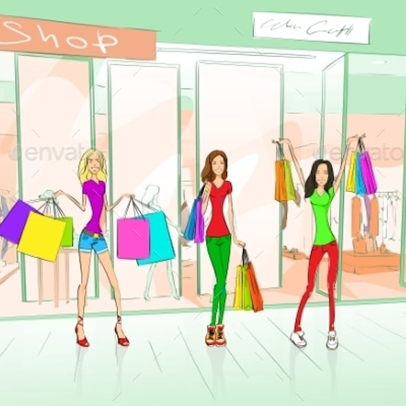 Women Friends Shopping Bags Shop Mall Center
