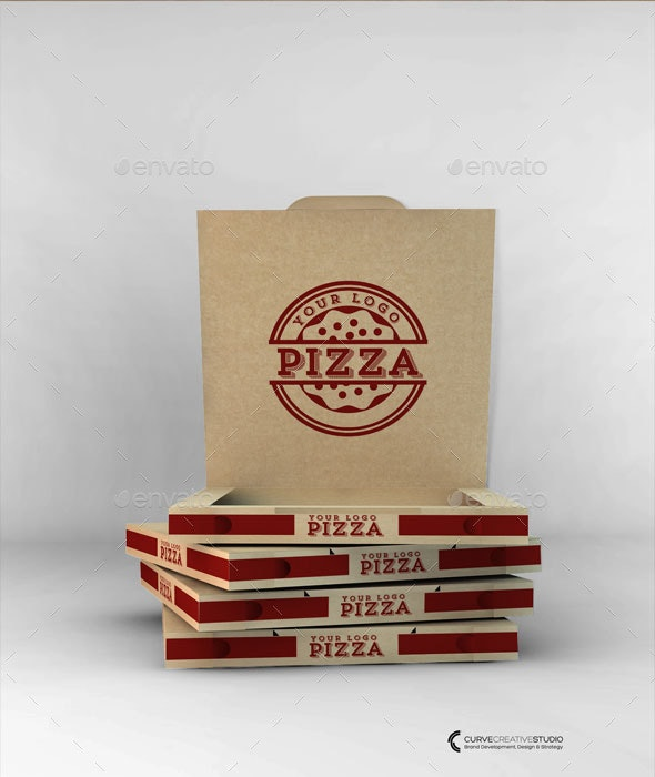 Take-Away Pizza Box Mock-Up - Food and Drink Packaging