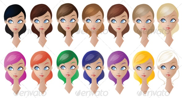 Dolls / Women / Girls / Models Hair Colours - People Characters