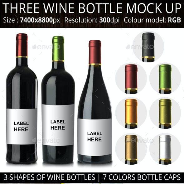 Three Wine Bottle Mock Up