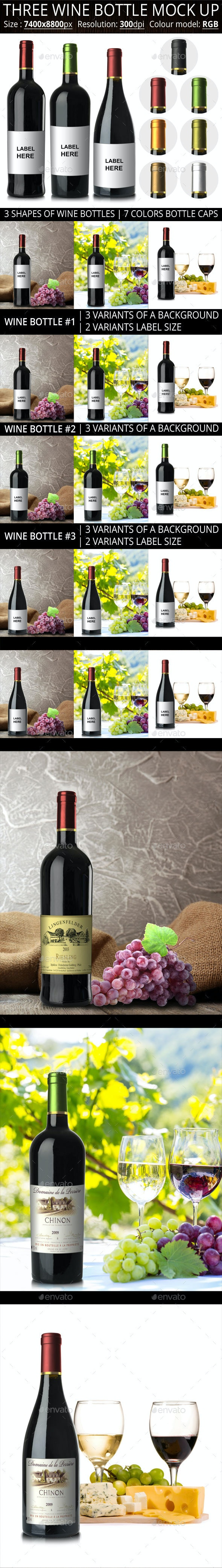 Three Wine Bottle Mock Up - Food and Drink Packaging