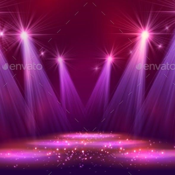 Spotlights On Stage With Smoke Light.