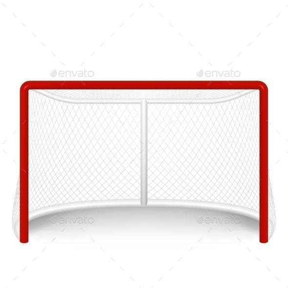Vector Red Hockey Goal, Net. Isolated On White.
