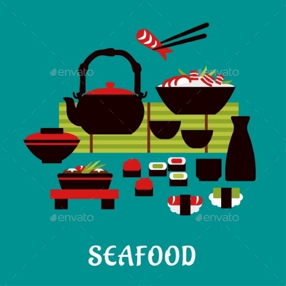 Japanese Seafood In Flat Style