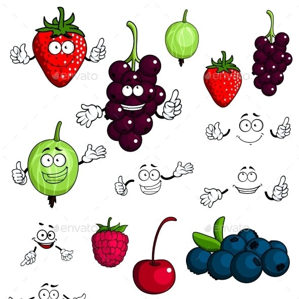 Healthy Berries and Fruit Characters