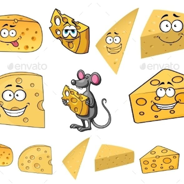 Wedges of Cartoon Cheese with a Mouse