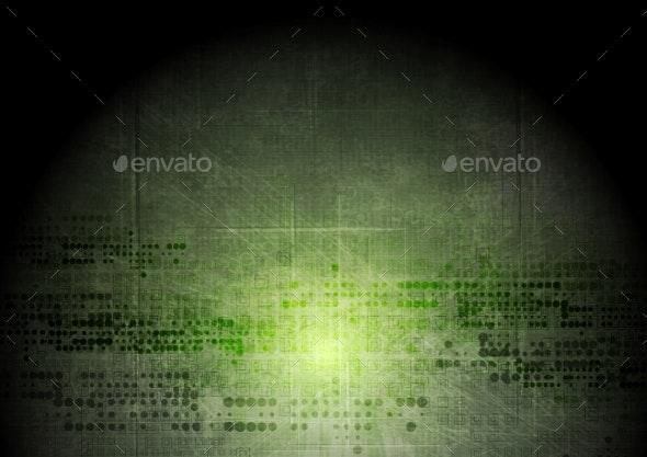 Dark Green Grunge Tech Background - Backgrounds Decorative