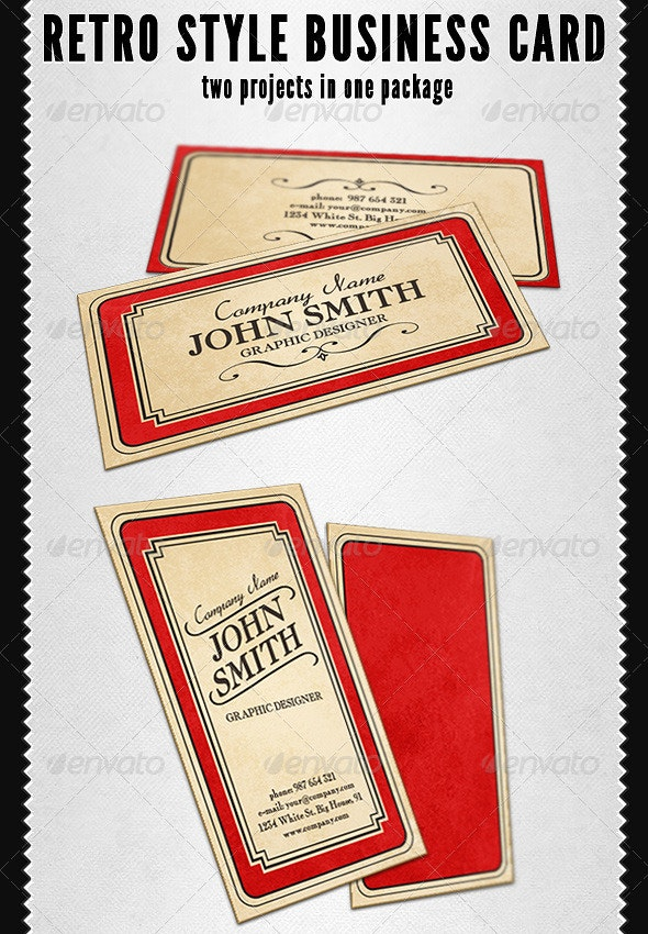 Retro Style Business Card - Retro/Vintage Business Cards
