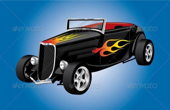 Hot Rod Roadster Car - Objects Vectors