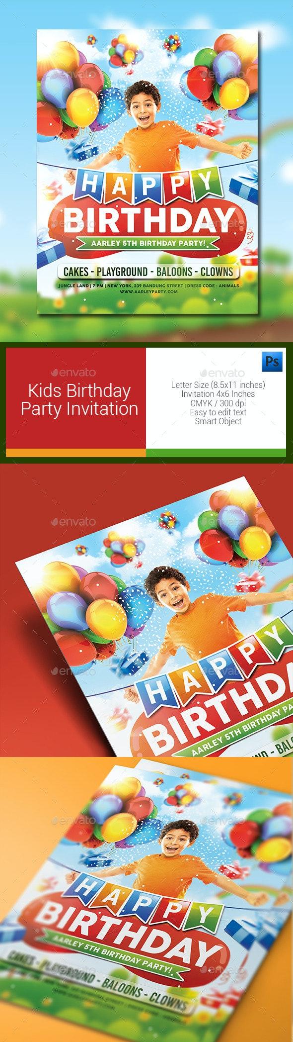 Kids Birthday Party Invitation - Birthday Greeting Cards