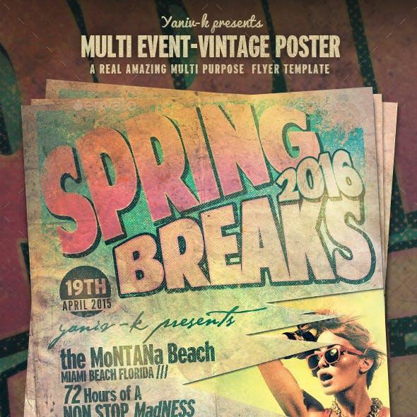 Multi Event Vintage Poster