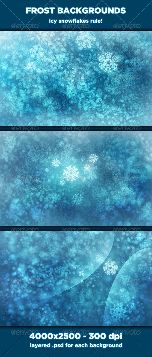 Frost Backgrounds - Icy Snowflakes - Abstract Backgrounds