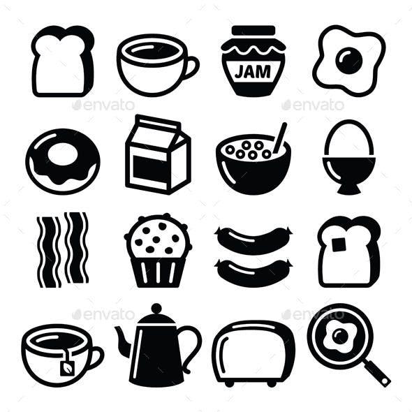 Breakfast Food Icons Set