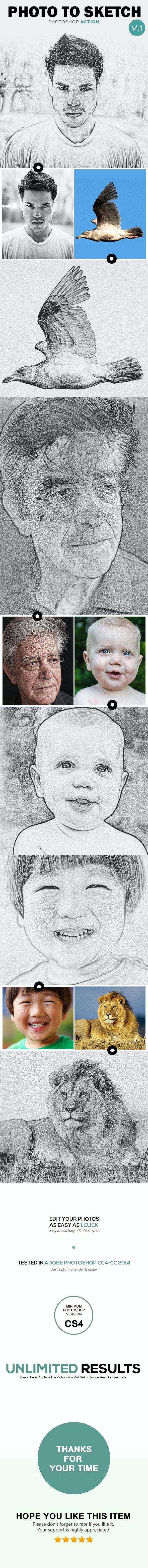 Photo to Sketch V1 - Photoshop Action - Photo Effects Actions