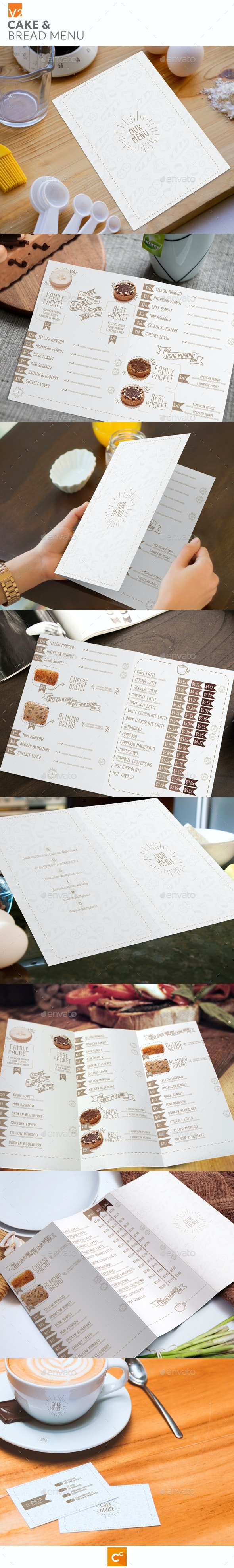 Cake & Bread Menu v2 - Food Menus Print Templates