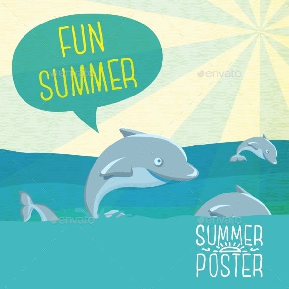 Cute Summer Poster - Dolphins Jumping In The Ocean