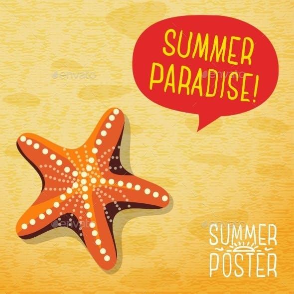 Cute Summer Poster - Ocean Starfish On The Beach