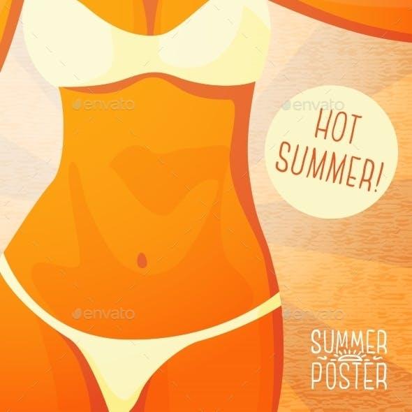 Cute Summer Poster - Bikini Girl On The Beach