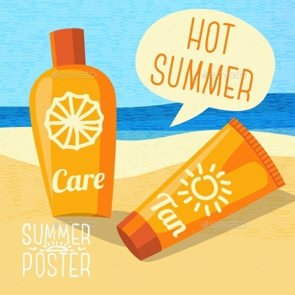 Cute Summer Poster - Sun Care Creams On The Beach