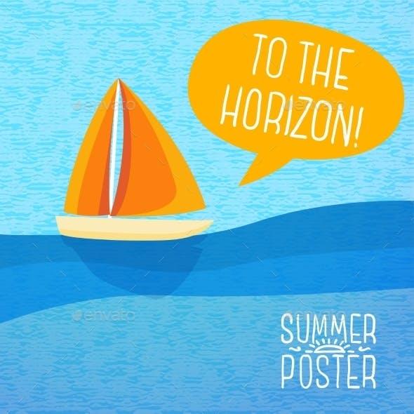 Cute Summer Poster - Yacht Sailing, With Speech