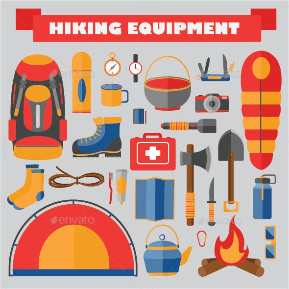 Set of Hiking and Camping Equipment