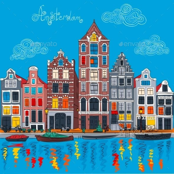 Amsterdam Canal and Typical Dutch Houses