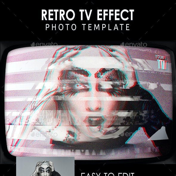 Retro TV Effect Photo Template