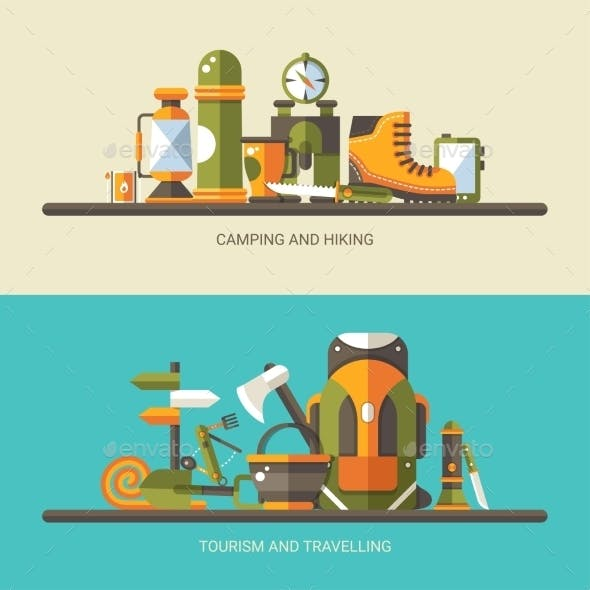 Modern Flat Design Illustration of Camping