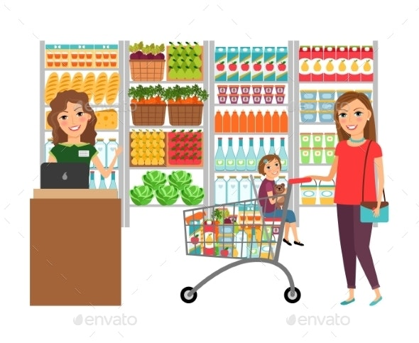 Woman Shopping in Grocery Store - Commercial / Shopping Conceptual