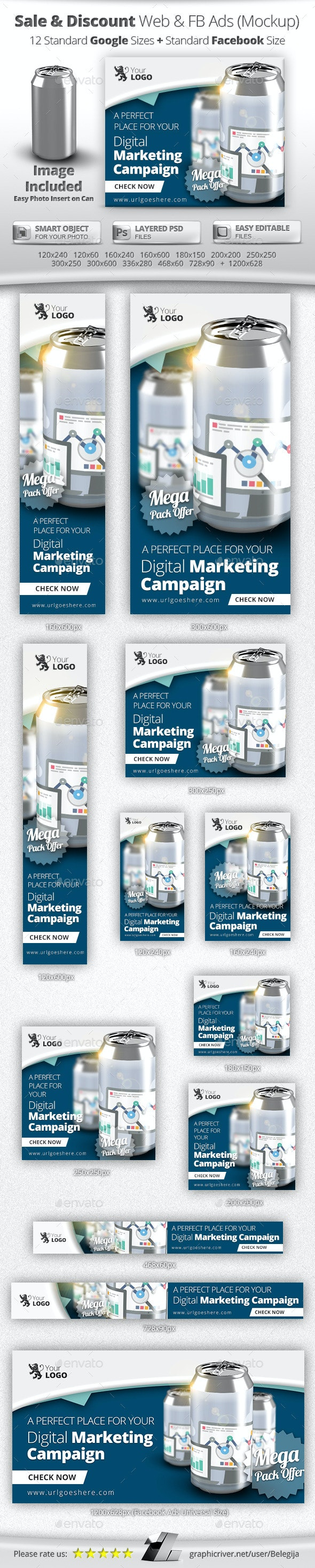 Online Sale & Discount Marketing Banners & Mockup - Banners & Ads Web Elements