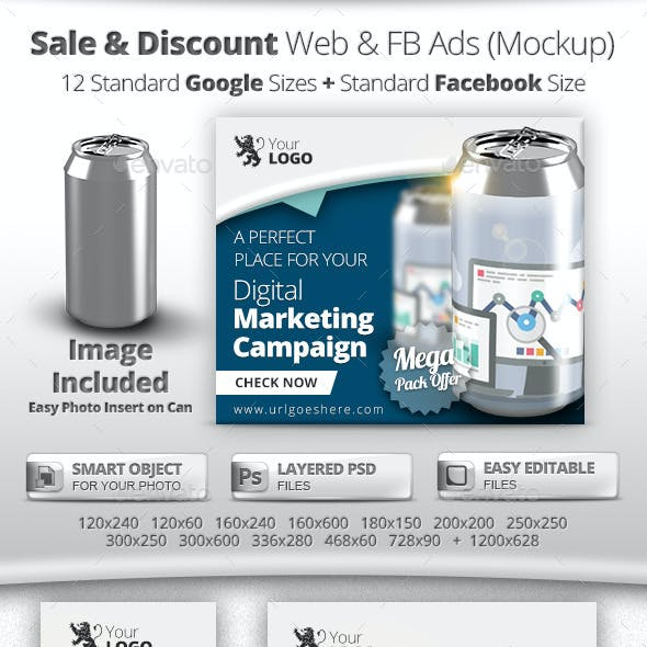 Online Sale & Discount Marketing Banners & Mockup