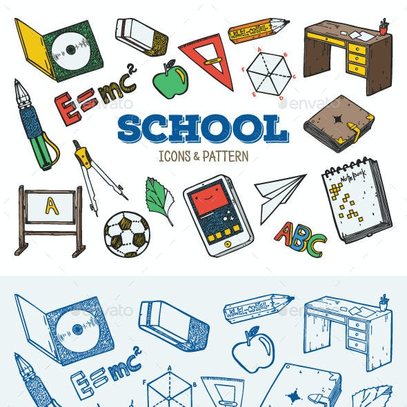 School Icons and Pattern