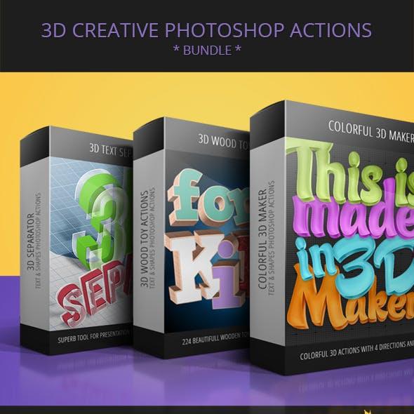 3D Creative Text & Shape Actions - Bundle