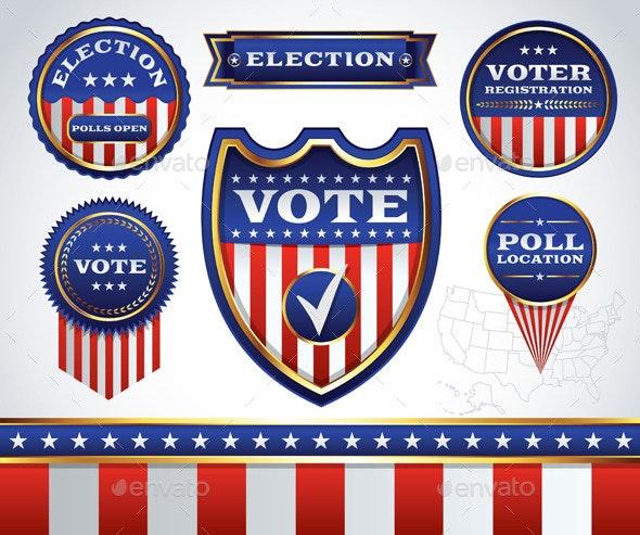 Set of Election and Voting Badges - Decorative Symbols Decorative