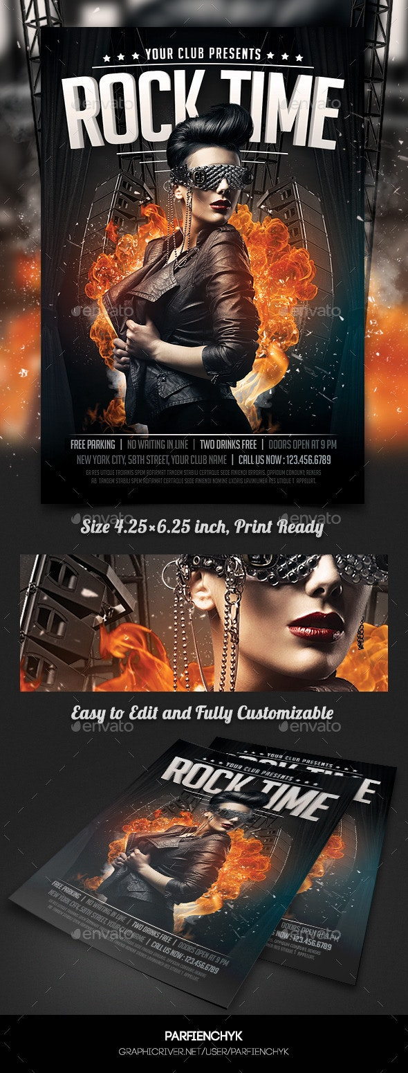 Rock Party Flyer Template - Clubs & Parties Events
