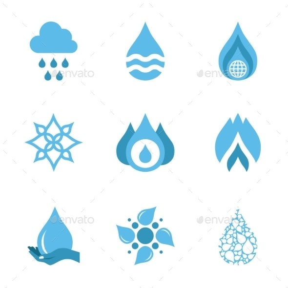 Water Drop Shapes Collection. Vector Icon  - Abstract Icons