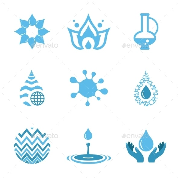 Water Drop Shapes Collection. Vector Icon